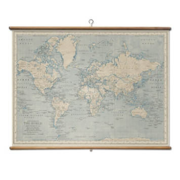 World map from Quercus & Co, with cedar dowel hangers.